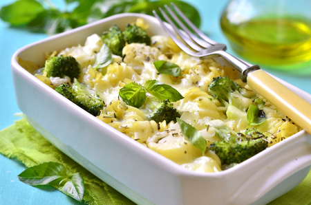 Pasta casserole with broccoli,cauliflower and cheese baked in bechamel sauce.