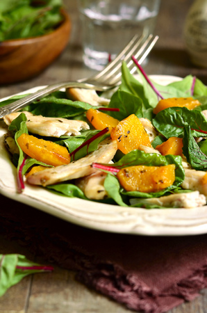 chard: Warm chard salad with pumpkin and chicken.Rustic style.