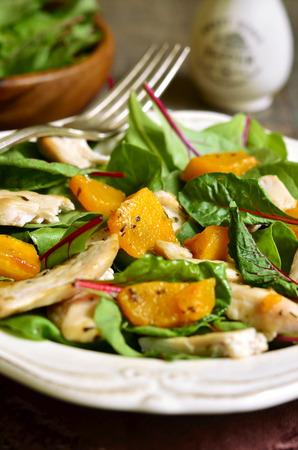 ensalada de verduras: Ensalada de acelgas caliente con calabaza y estilo chicken.Rustic.