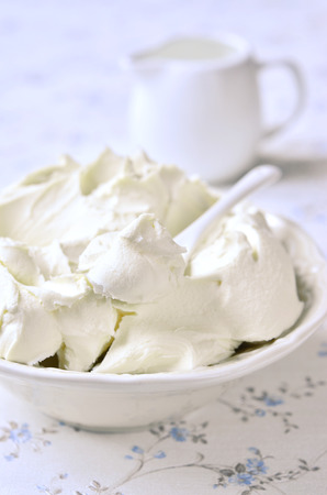 mascarpone: Fresh homemade mascarpone in a white bowl. Stock Photo