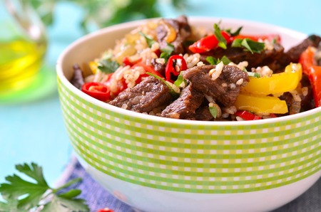 ragout: Meat ragout with bell pepper and fried rice. Stock Photo