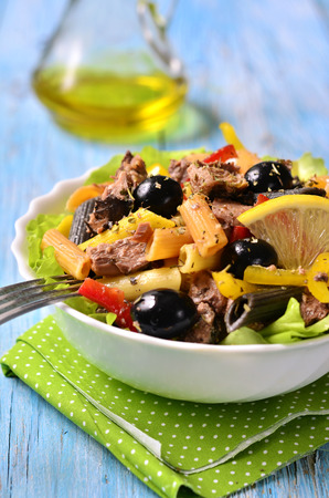 tunny: Tuna salad with pasta and bell pepper. Stock Photo