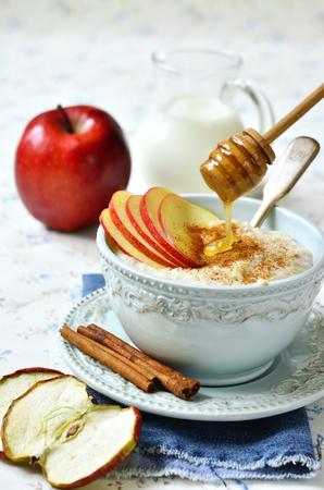 stick of cinnamon: Oat porridge with apple,honey and cinnamon for a breakfast.