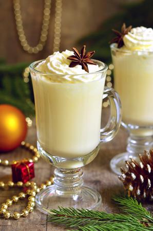 Eggnog -  hot christmas drink.Traditional english cuisine. Stock Photo