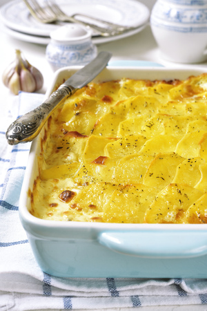 meatless: Potato gratin in a blue baking dish on a light background.