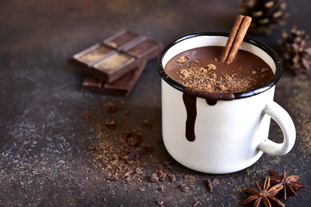 Homemade spicy hot chocolate with cinnamon in enamel mug on a slate,stone or concrete background. Archivio Fotografico