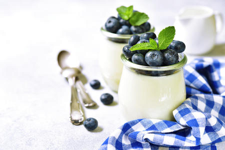Homemade vanilla panna cotta with frash berries in a vintage glass jar on a white background. Stock Photo