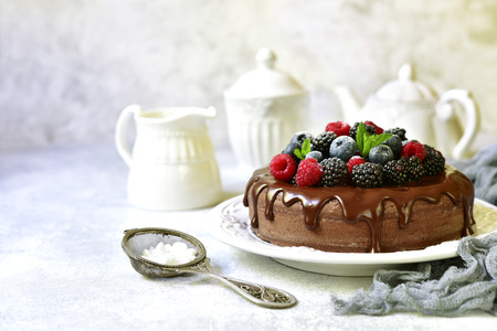 Homemade chocolate cake with fresh berries on a light slate,stone or concrete background.