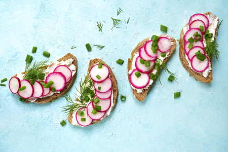 Rye toasts with soft cheese, redish and dill on a light blue slate, stone or concrete background.Top view with copy space.