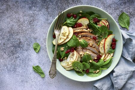 Spinach salad with grilled chicken breast, red apple, dried cranberry and walnuts in a bowl on a light grey slate, stone or concrete background. Top view with copy space. Stockfoto
