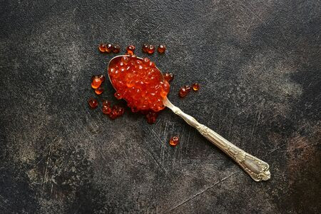 Natural organic red salmon caviar on a spoon over dark slate, stone or concrete background.Top view with copy space.