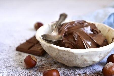 Homemade chocolate hazelnut spread in a white bowl  on a light slate, stone or concrete background.