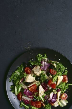 Vegetable salad with chicken and spicy citrus dressing. Top view with copy space. Stock fotó