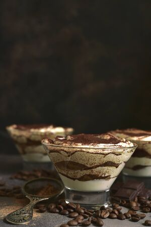 Tiramisu - traditional italian dessert from mascarpone cheese and biscuit in a glasses on a dark slate, stone or concrete background. No baked chessecake. Reklamní fotografie