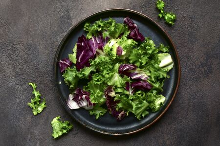 Mix salad leaves on a dark plate over slate, stone or concrete background.Top view with copy space.