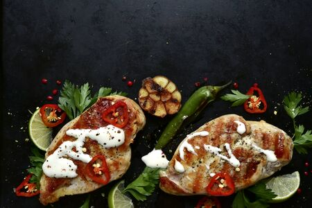 Grilled chicken breasts with spices on a dark slate or metal background. Top view with copy space.