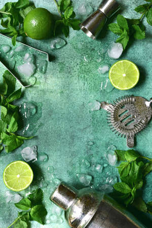 Ingredients and props for making summer citrus cocktail mojito on a light green slate, stone or concrete background. Top view with copy space. Zdjęcie Seryjne