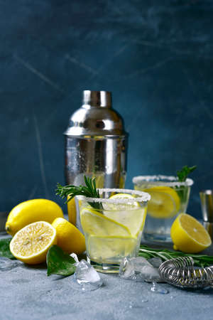 Lemon cocktail with vodka and rosemary in a glasses on a dark blue slate, stone or concrete background. Archivio Fotografico