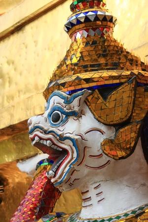 Head of Hanuman at Wat Phra keao, Bangkok, Thailand photo