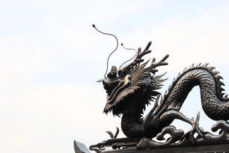 metal sculpture: The Sculpture metal of dragon on sky