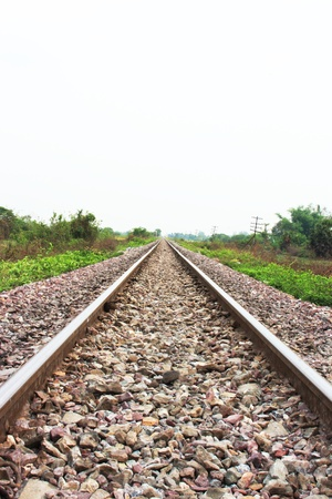 distantly: railway to far away Stock Photo