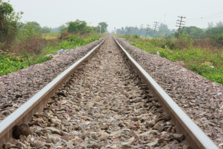 distantly: Railway in Thailand Stock Photo