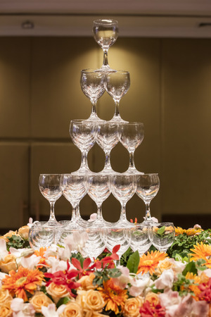 empty champagne glass tower photo