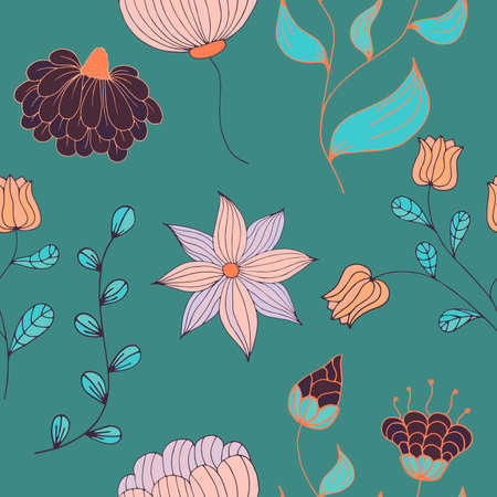 seamless color floral pattern with doodle elements
