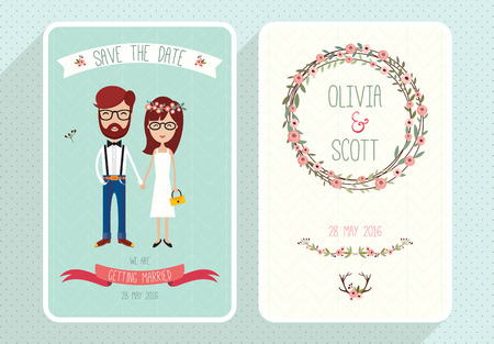 Wedding card collection with hipsters