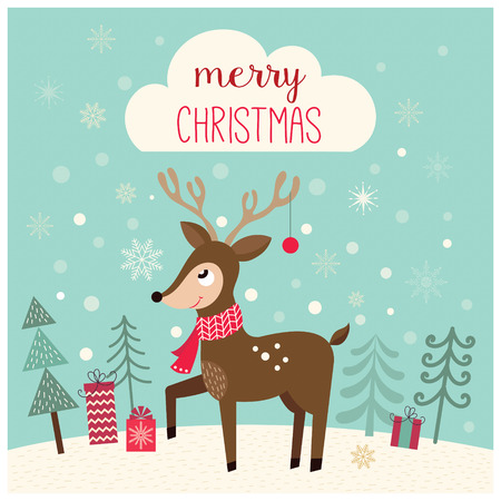Christmas card with deer in a winter landscape