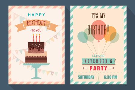 Vintage birthday card and invitation template