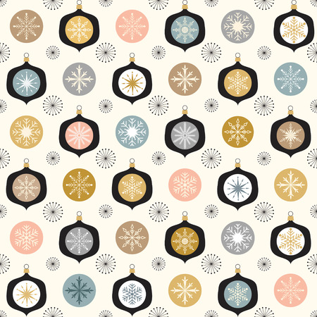 Christmas pattern with Christmas balls and snowflakes