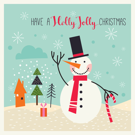 Christmas card with snowman in a winter landscape