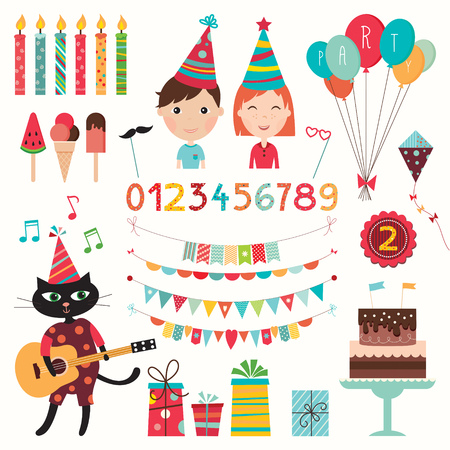 Birthday elements set. Collection of party elements (vector design