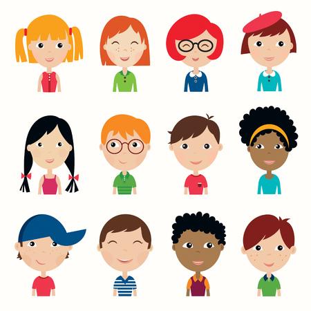 Kids faces collection. Set of twelve multi ethnic kids faces