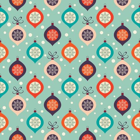 Retro Christmas pattern with Christmas balls and snowflakes