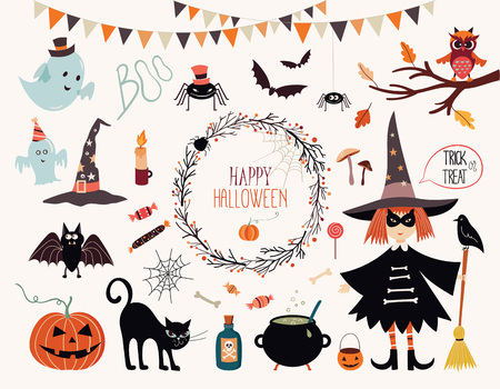 Halloween collection with hand drawn elements, witch, ghosts and wreath.