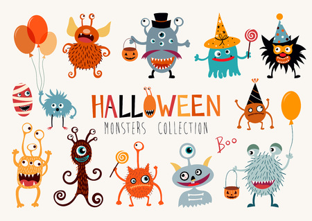 Halloween collection with hand drawn funny monsters. Çizim