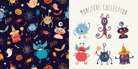 Halloween collection with pattern and funny monsters. Çizim