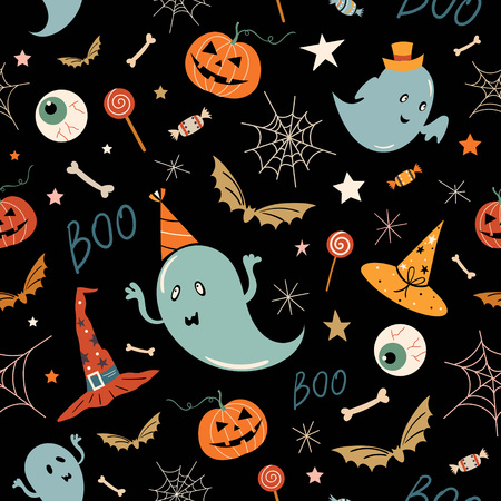 Halloween pattern with hand drawn elements, ghosts and pumpkins, vector design.