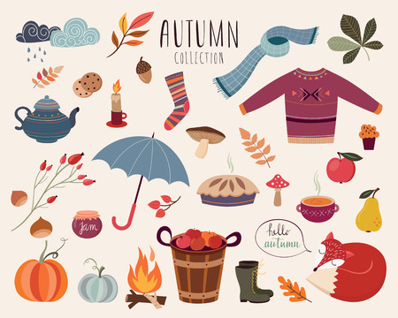 Hand drawn collection with autumnal elements design.
