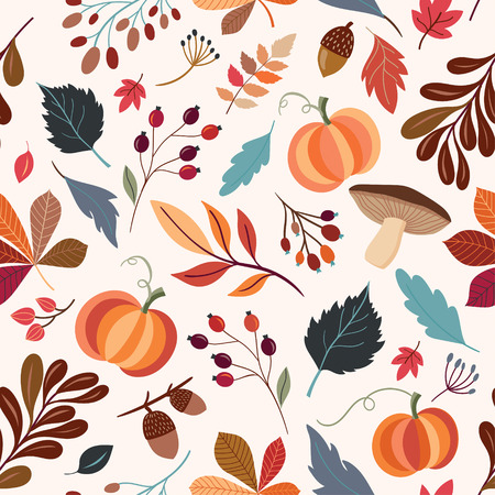 Hand drawn seamless pattern with autumn design elements