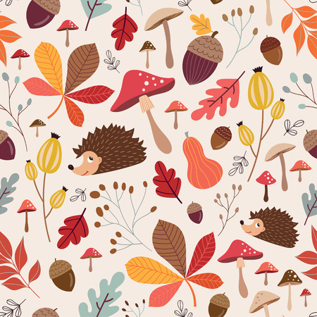 Hand drawn seamless pattern with autumnal elements