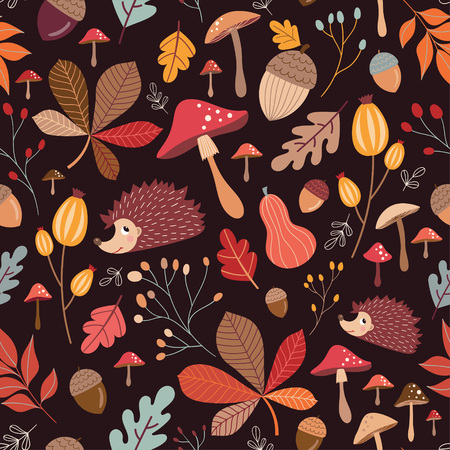 Seamless pattern with cute elements, autumnal pattern