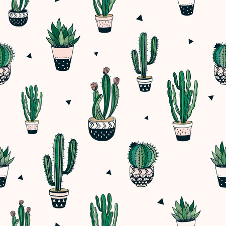 Hand drawn decorative pattern with cacti and succulents.