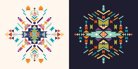 Aztec decorative cards collection, ethnic colorful elements.