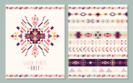 Tribal card with decorative ethnic element.