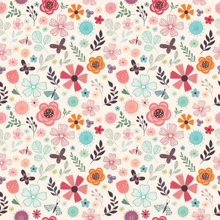 Floral seamless pattern with different flowers, butterflies and plants Çizim