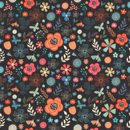Floral retro seamless pattern with different flowers, butterflies and plants