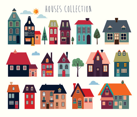 Houses and buildings vector collection